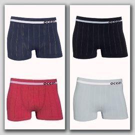【西班牙 OCEAN】男性褲無縫彈性透氣直條 四角褲 (7168b)M件