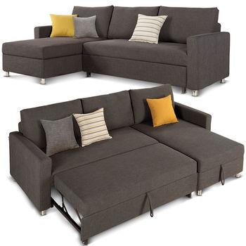 【日式量販】設計空間多功能收納L型沙發床