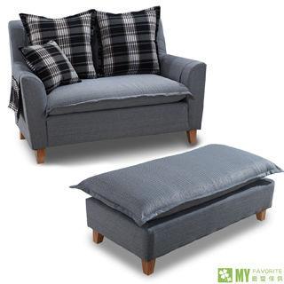 【最愛傢俱】夏慕尼2人座布沙發+長腳凳-灰藍格紋