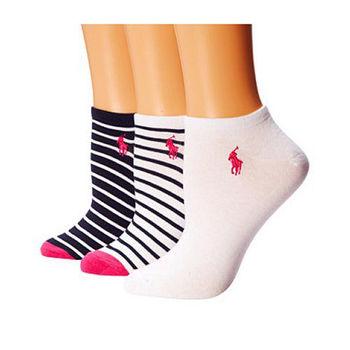 【Ralph Lauren】2015女馬球腳踝黑白條紋短襪混搭3入組(預購)
