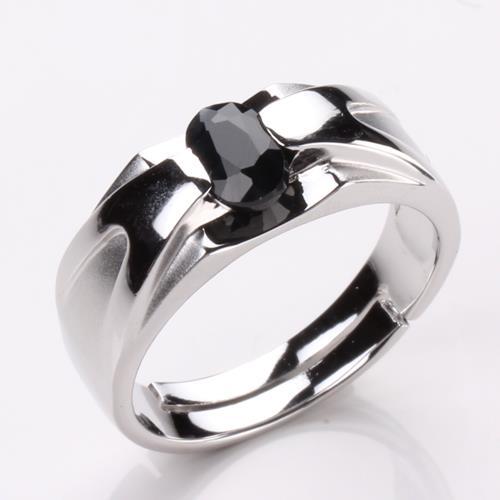 【寶石方塊】比翼雙飛天然0.5克拉黑藍寶石戒指-活圍設計