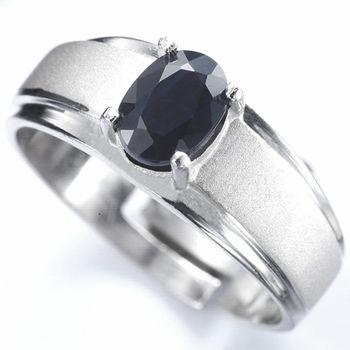 【寶石方塊】真情相愛天然1克拉黑藍寶石戒-活圍設計