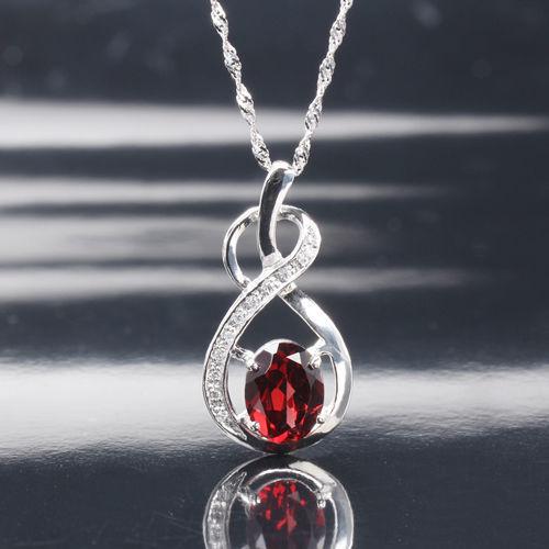 【寶石方塊】玫瑰情人天然2克拉石榴石項鍊