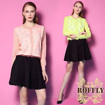 【ROFFLY蘿芙莉】預購-歐美時尚糖果色童趣印花圓領長袖針織衫外套 (MU801882)