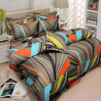 【Novaya諾曼亞】《瑟迪亞芬》絲光棉雙人四件式鋪棉兩用被床包組