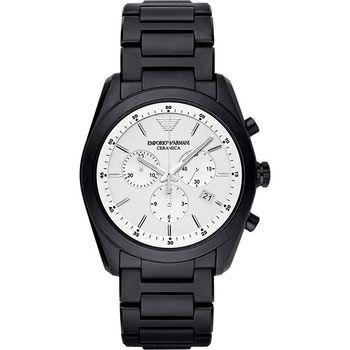 Emporio Armani Ceramica 時尚三眼陶瓷計時腕錶-銀x黑 AR1492