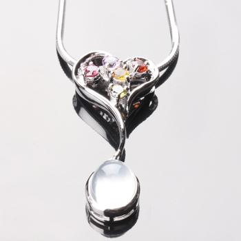 【寶石方塊】繽紛璀璨天然月光石項鍊(925純銀飾)