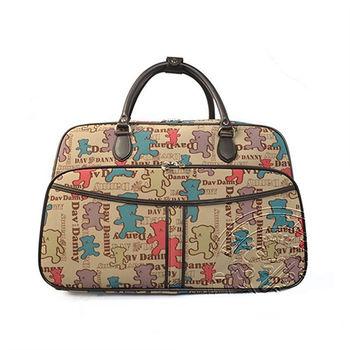 DAV DANNY 大衛丹尼 餅乾熊系列-可愛維尼熊超大拖輪行李袋