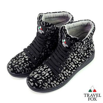 Travel Fox(女) SEXY-性感大膽 個性風高筒休閒鞋 - 黑豹紋