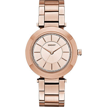 DKNY Stanhope 名模風采晶鑽時尚腕錶-玫瑰金 NY2287