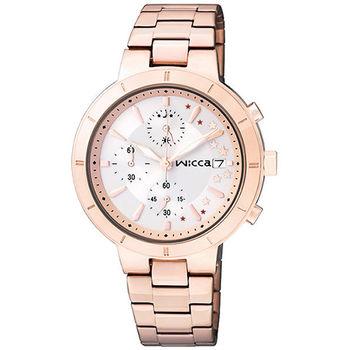 CITIZEN wicca 繁星女孩系列計時腕錶-銀x玫塊金 BM2-225-11