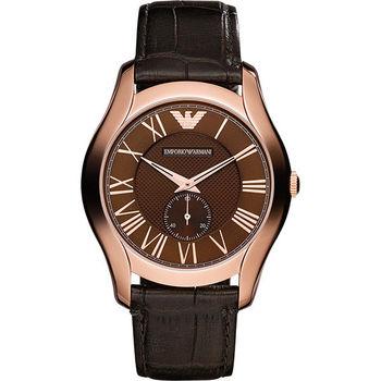 Emporio Armani Classic 羅馬小秒針腕錶-咖啡x玫瑰金 AR1705