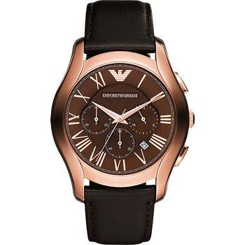 Emporio Armani Classic 羅馬計時腕錶-咖啡x玫瑰金 AR1701