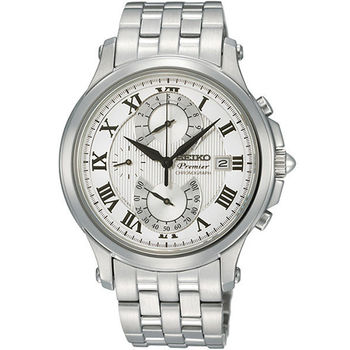 SEIKO Premier 雙逆跳計時功能腕錶-銀 7T85-0AC0S