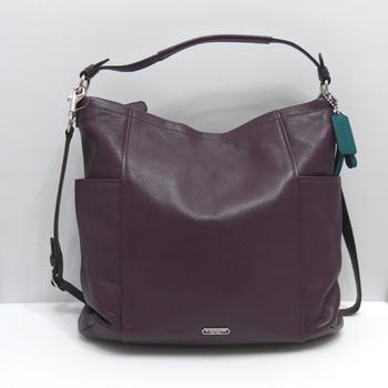 COACH紫色荔枝皮紋HOBO肩斜兩用包
