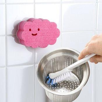 【特惠組】日本AISEN黏貼式雲朵浴室海綿刷+排水口直角清潔刷