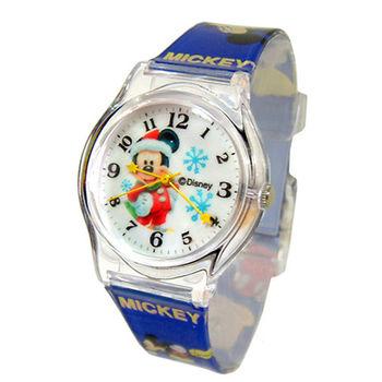 【迪士尼】歡樂聖誕雪花米奇兒童錶(D4216)