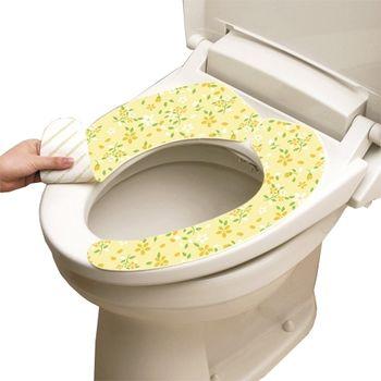 日本LEC抗菌防臭馬桶座墊貼(粉黃花卉)