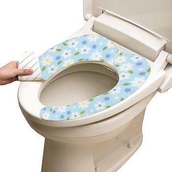 日本LEC抗菌防臭馬桶座墊貼(粉藍小花)