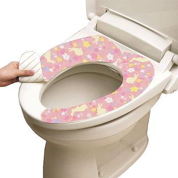 日本LEC抗菌防臭馬桶座墊貼(粉紅兔)