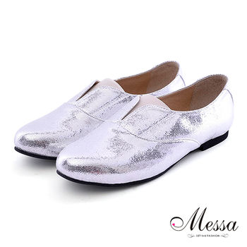 【Messa米莎】(MIT) 格調雅痞時尚舒適柔軟紳士款內真皮樂福鞋-銀色