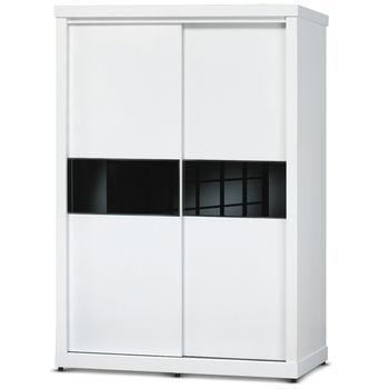【日式量販】極簡黑白設計5尺推門衣櫃