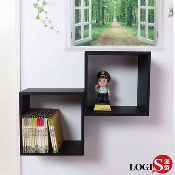 LOGIS~ 黑白魔術口格子壁櫃 壁架 展示櫃-正方形兩入組