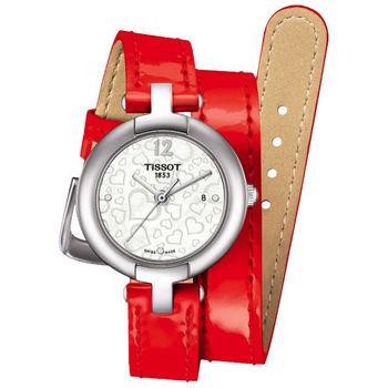 TISSOT Pinky 戀人絮語真鑽腕錶-珍珠貝x紅 T0842101611700