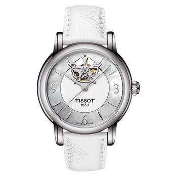 TISSOT Lady Heart 花朵鏤空機械腕錶-珍珠貝x白 T0502071711704