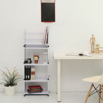【ikloo宜酷屋】貴族風可延伸式組合書櫃/書架四層-現代白