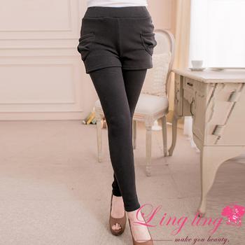 lingling中大尺碼 側口袋假兩件刷絨毛內搭褲(經典黑)A2000