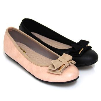 【Pretty】甜美可人蝴蝶結絨面平底娃娃鞋-黑色、粉紅色