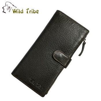 【Wild Tribe】扣式 真皮拉鍊分隔長夾皮夾(LW2098灰黑)