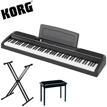 【KORG】標準88鍵電鋼琴/數位鋼琴含雙叉琴架、琴椅-黑色-公司貨保固 (SP-170S)