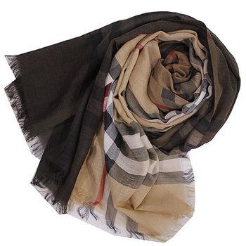 BURBERRY經典大格紋羊毛絲綢披肩/圍巾(5色)