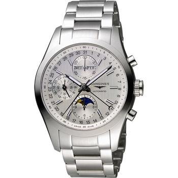 LONGINES Conquest Classic 月相計時機械腕錶-銀 L27984726