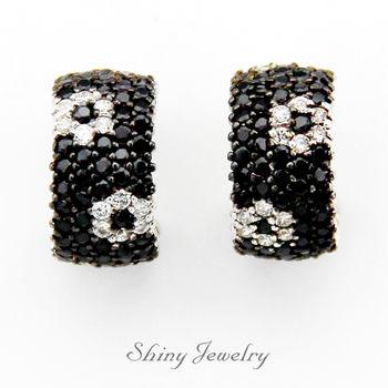 【炫麗珠寶】華麗黑色花朵 純銀耳環