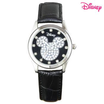 【Disney迪士尼】施華洛世奇米奇晶鑽皮革錶 (品味黑LE-33A02)