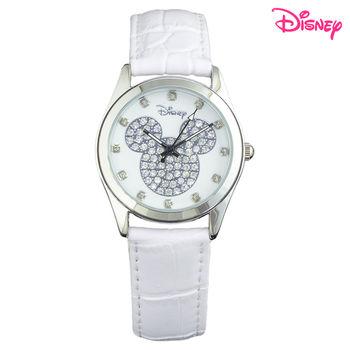【Disney迪士尼】施華洛世奇米奇晶鑽皮革錶 (時尚白LE-33A01)