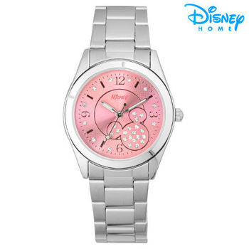 【Disney迪士尼】水鑽網紋 時尚腕錶 鋼帶錶 (甜蜜粉)