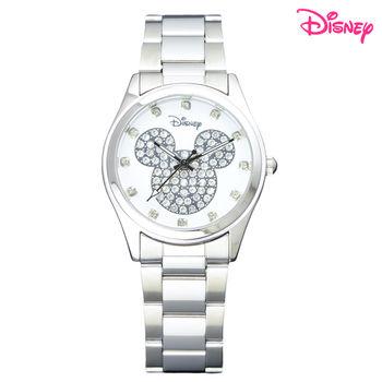 【Disney迪士尼】施華洛世奇米奇晶鑽鋼帶錶 (典雅白SL-33B01)