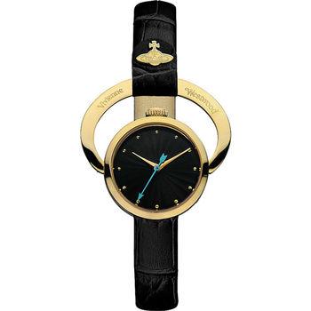 Vivienne Westwood Horseshoe 曼妙格調壓紋皮革造型腕錶 23mm 黑色 金色 / VV082BKBK