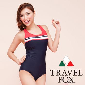 【TRAVELFOX 旅狐】海軍風競泳連身三角泳衣C13707