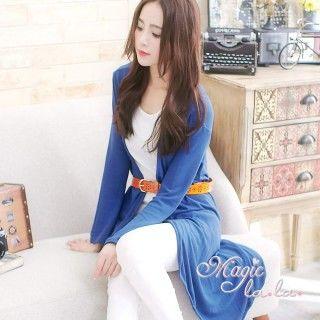 【魔法拉拉】腰間繫帶長版開襟罩衫外套A411(搶眼藍)