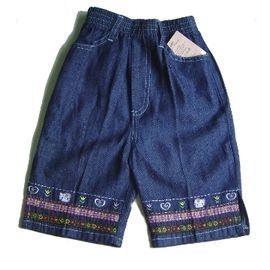 【FINE】《韓國製》100 %棉 女童繡花kKitty牛仔褲七分褲(0812)