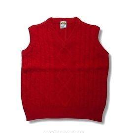 【MIMIGOGO】 (0129) 50%羊毛 50%混紡 男女童羊毛背心_米白色 紅