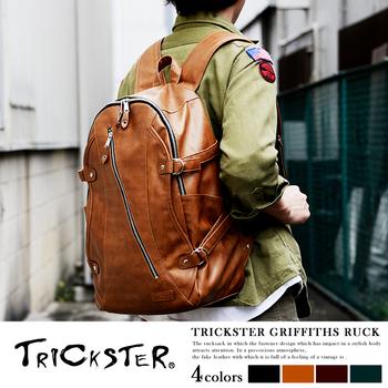 【TRICKSTER】日本品牌 後背包 電腦包 B4 雙肩書包 經典皮革感 都會潮流【tr27】