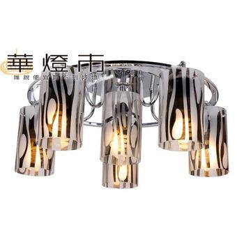 【華燈市】炫銀時尚5+1燈吸頂燈(電鍍玻璃風)