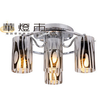 【華燈市】炫銀時尚3+1燈吸頂燈(電鍍玻璃風)