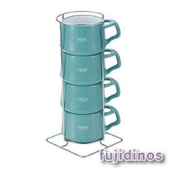 Fujidinos【DANSK】琺瑯材質咖啡杯(4件組)(藍綠色)